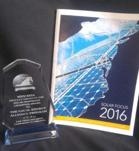 "Solar Focus 2016 ""Solar Nonprofit Champion"" award winner."
